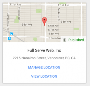Full Serve Web google listing