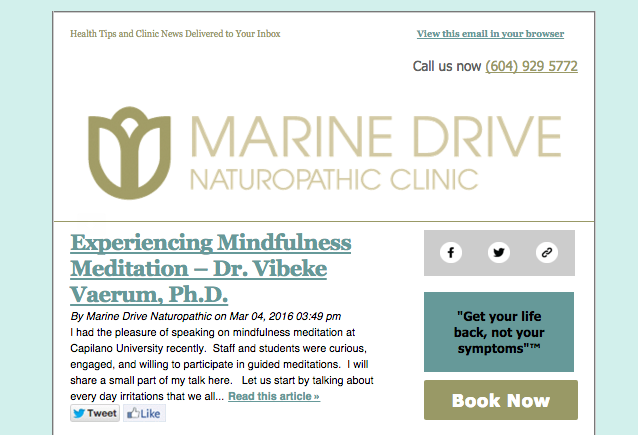 screenshot of Marine Drive newsletter