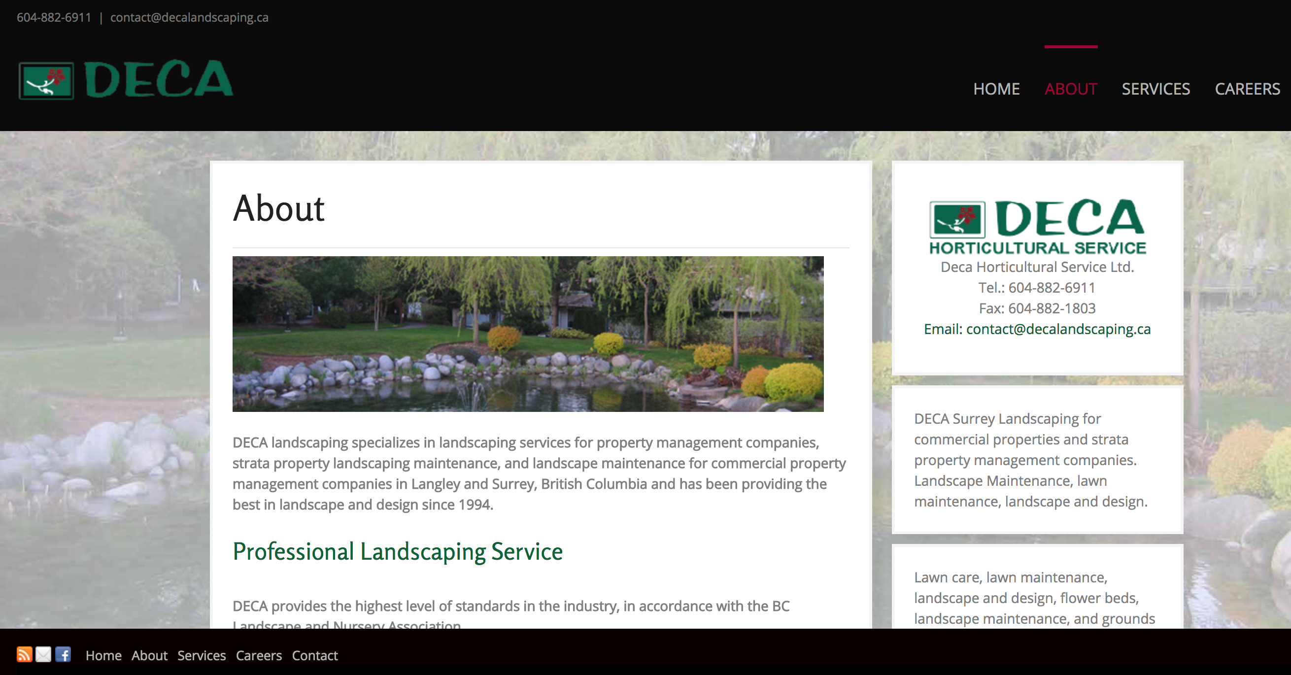 Landscaping Website about page
