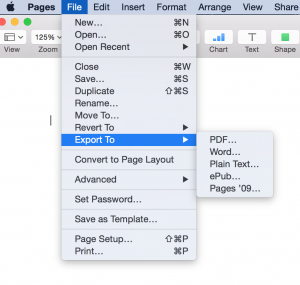 Create PDF in Pages